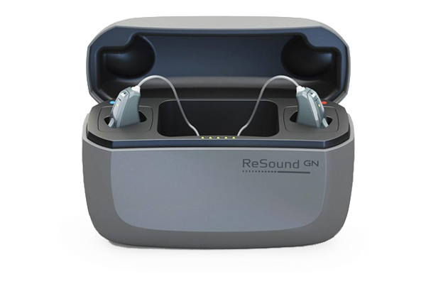 ReSound LiNX Quattro rechargeable hearing aids sitting in their charging case