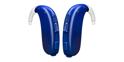 Oticon Xceed Play hearing aids for children and teens in blue