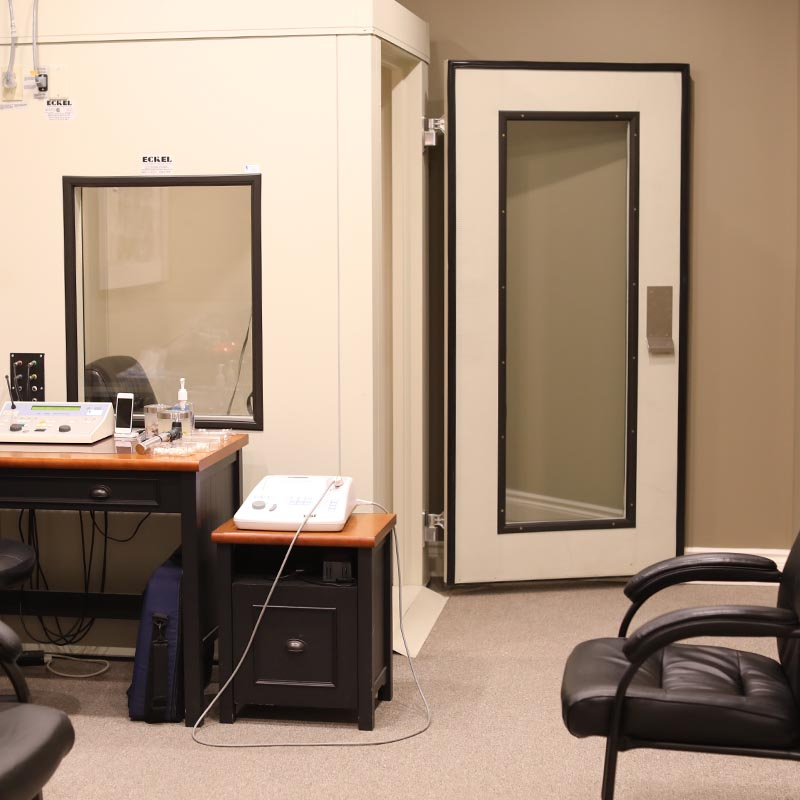 Hearing Aid sound booth for hearing testing at our Pembroke clinic