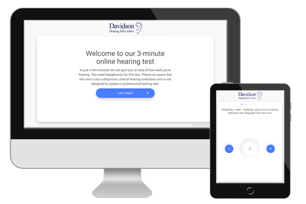 our Free online hearing check on a computer and a tablet