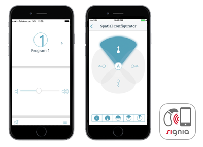 the Signia Touch Control smartphone app for adjusting the volume, program and directionality focus for signia hearing aids