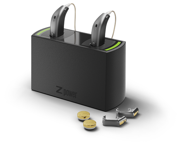 Oticon Opn rechargeable hearing aids charging in a ZPower charger
