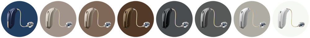 The various colours of the Oticon Opn miniRITE hearing aids