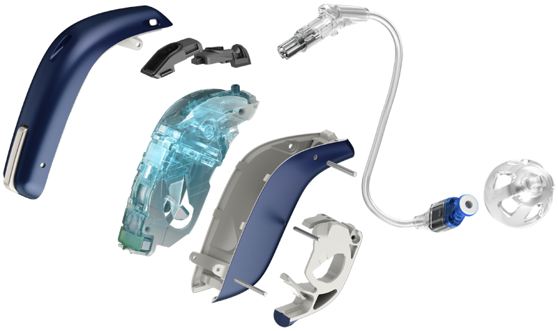Expanded view of the different components that go into making an Oticon Opn miniRITE hearing aid