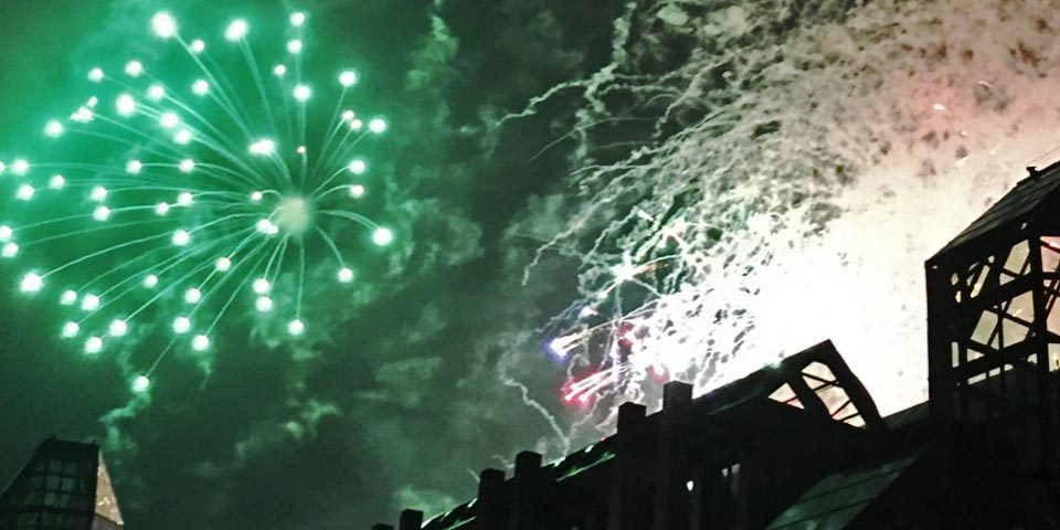 Fireworks above the National Art Gallery in Ottawa, Canada can be loud enough to cause damage to your hearing