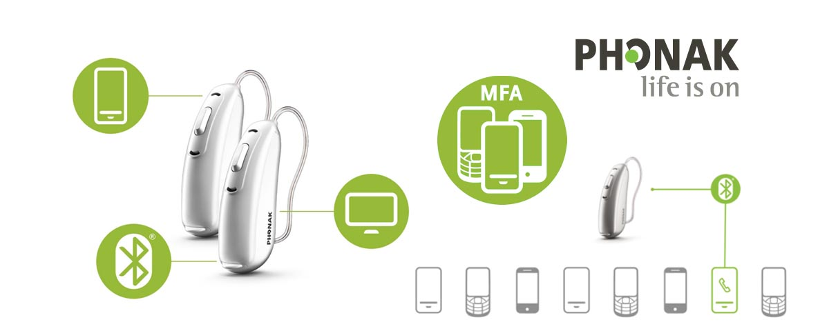 Phonak's new Made For All (MFA) protocol allows their hearing aids to connect and stream from almost any cell phone through the Bluetooth Classic protocol